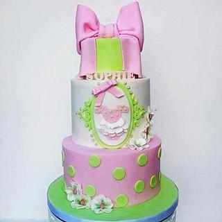 Girly christening cake