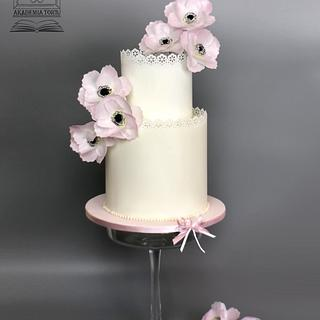 Wafer paper anemone cake