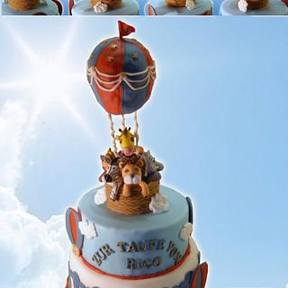 hotair ballon christening cake