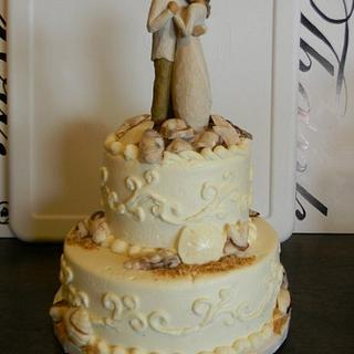 Beach Wedding Cake with Willow Tree cake topper