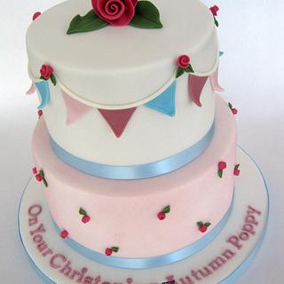2 Tier Cath Kidston Style Christening Cake