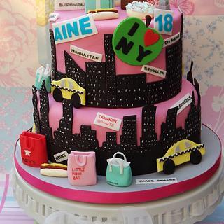 New York themed 18th birthday cake