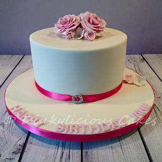 Pink Roses Cake - Cake by Dinkylicious Cakes