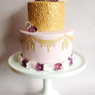 Glitter and gold celebration cake
