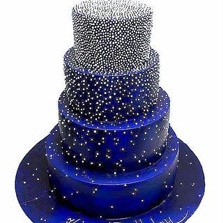 Indigo cake with white dots