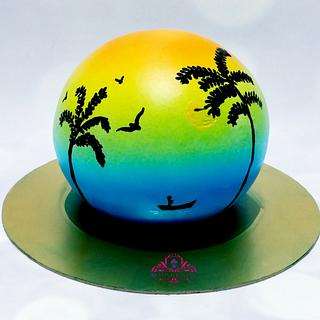 whipped cream Spherical handpainted cake