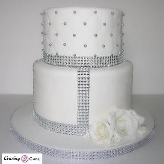 Pearls & Roses Wedding Cake - Cake by Craving Cake