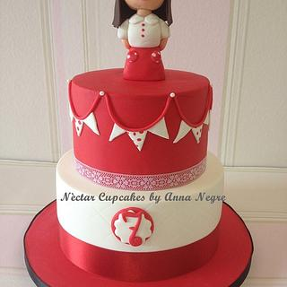 White and red fondant cake
