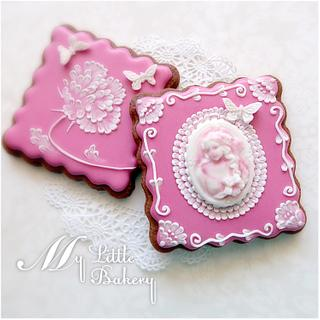 Pink cameo cookies