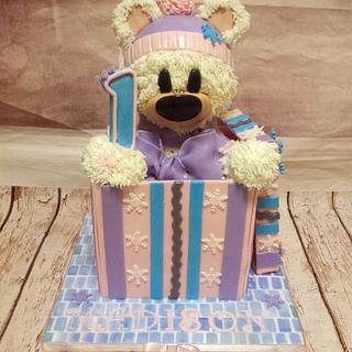 Winter bear in a box cake
