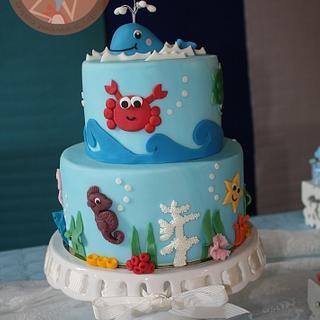 Sea life baby shower cake