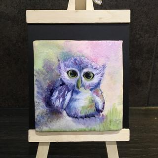 Handpainted owl on sugar cookie