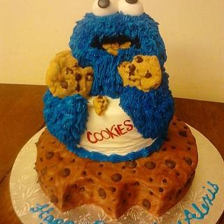 Cookie monster cake  - Cake by CC's Creative Cakes and more...