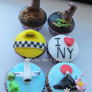 Around the World trip cupcakes