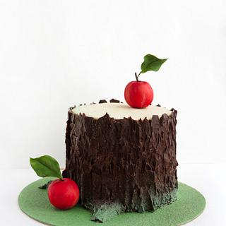stump with apples