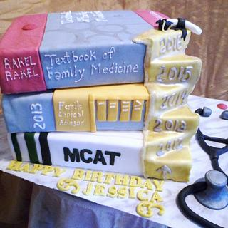 Doctor Study Stacked Book Cake