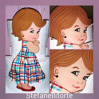 Little girl 2d cake topper