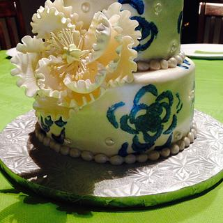 'Stamped' Floral Cake