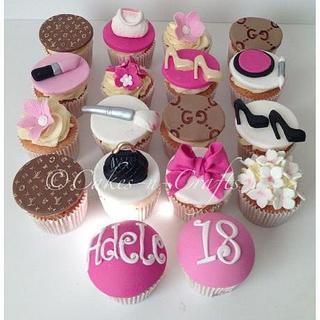 girly designer themed cupcakes