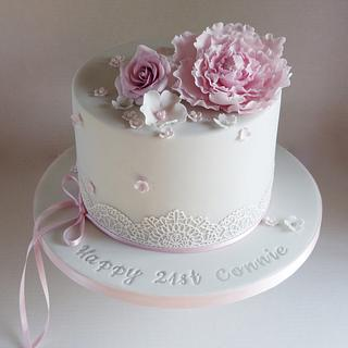 Grey and pink 21st birthday cake