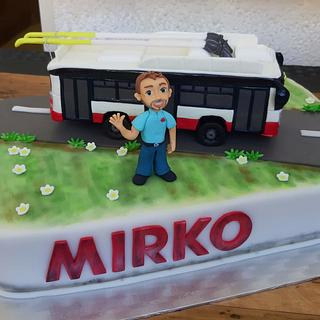 Cake with trolleybus for my husband