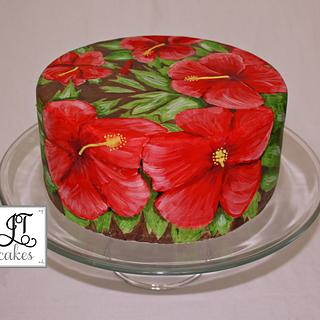 Hibiscus hand painted cake - Cake by JT Cakes