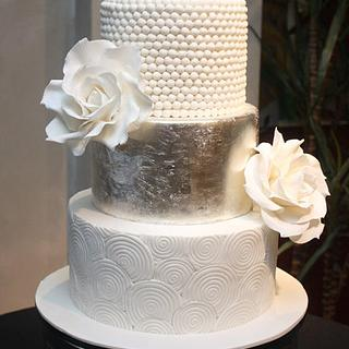 Silver Leaf, Swirls, Pearls & Giant White Roses
