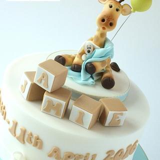 Baby Giraffe Christening Cake