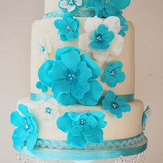 Aqua-marine Summer wedding cake - Cake by Let it be Cake