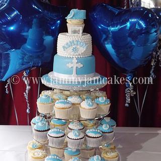 Ashton Christening Cake & Cupcakes