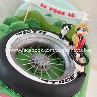 Cycling birthday girl cake - Cake by Zoe's Fancy Cakes