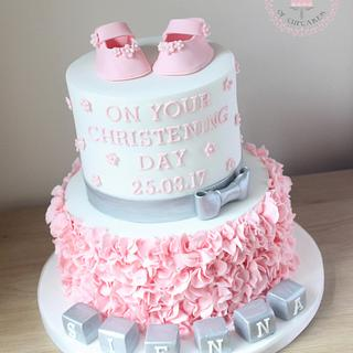 Baby shower ruffle cake