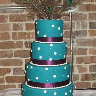 Teal Peacock Wedding - Cake by DoobieAlexander