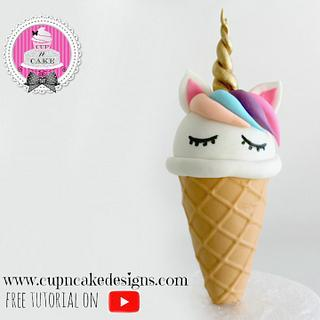 Unicorn Ice cream fondant and rice krispie cake topper