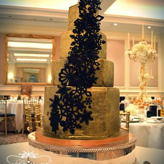 Gold and Black Winter Wedding Cake