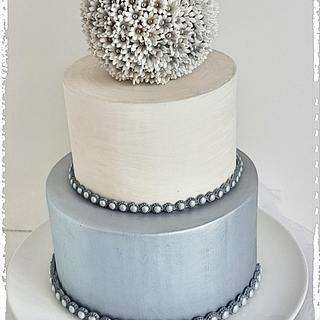 Small Silver Wedding Cake Trio 1