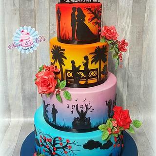 Colorful silhouette Weddingcake - Cake by Sam & Nel's Taarten