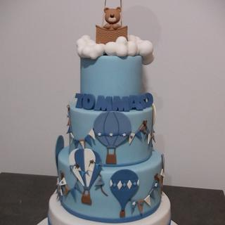 Hot Air balloon Baptism cake