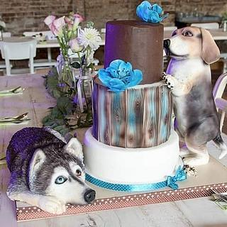 Wedding cake with dogs