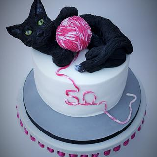 black cat 50th birthday cake