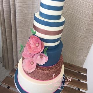 Navy Wedding - Cake by Jolirose Cake Shop