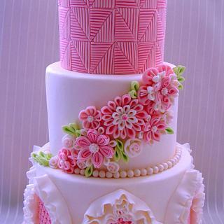 Wedding cake with smocking and ruffles decoration