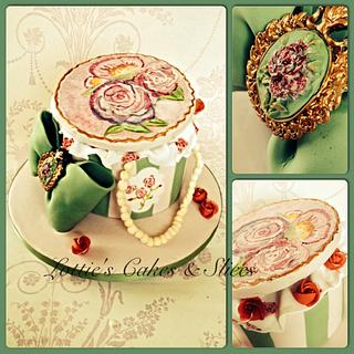 Hand painted  vintage hat box