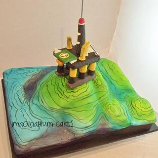 Geological Structure Cake with Drilling Rig