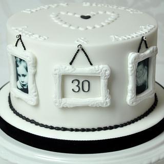 Monochrome photo frame 30th birthday cake