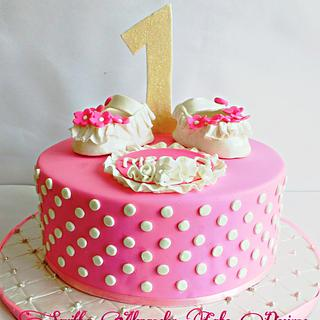Baby pink birthday cake