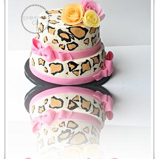 Leopard cake with wafer paper flowers