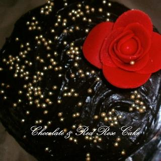 Devil's chocolate cake with a red rose
