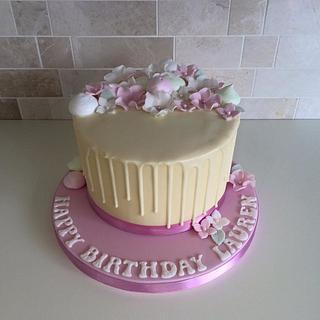 Girlie White Chocolate Drip Cake