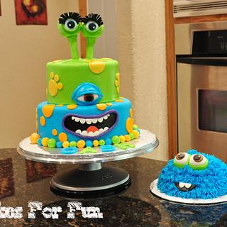 Monster Birthday Cake with Smash Cake